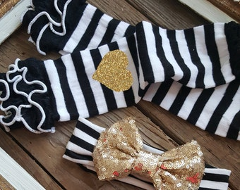 NEWBORN BABY Glitter GOLD Sequin headband and Legwarmer Set Bodysuit by Mackie Jo and Co