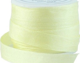 11 Yds (10 M) Embroidery Silk Ribbon 100% Silk 7mm - Yellow - By Threadart