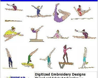 Embroidery Design CD - Gymnastics(1) - 13 Designs - 9 Formats - Threadart