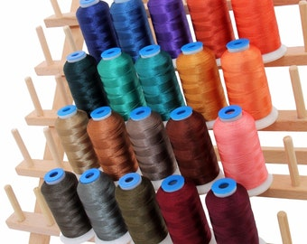Rayon Machine Embroidery Thread Set 20 Dark Colors - 1000m Cones - 40wt