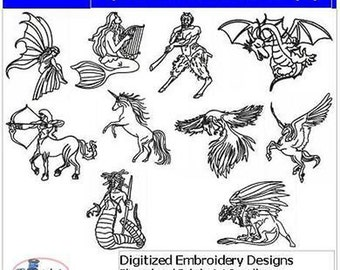 Embroidery Design CD - Mythical Creatures - 10 Designs - 9 Formats - Threadart