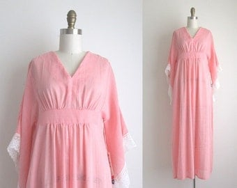 CLEARANCE 1970s Caftan / Vintage 1970s Maxi Dress / Pink Cotton Bohemian Caftan