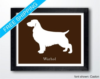 Personalized Field Spaniel Silhouette Print with Custom Name