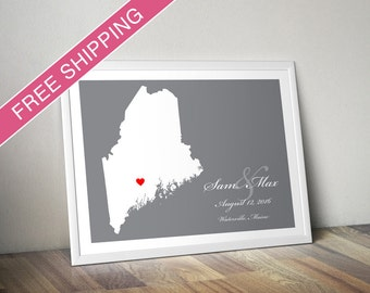 Wedding Gift: Personalized Location Maine State Map Print - Wedding Guest Poster - Housewarming Gift