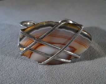 Vintage Silver Plated Huge Shades Taupe Brown Striated Agate Wrapped Stone Cuff Bangle Bracelet      **RL