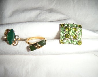 Jade Green Rings and a green dinner ring.