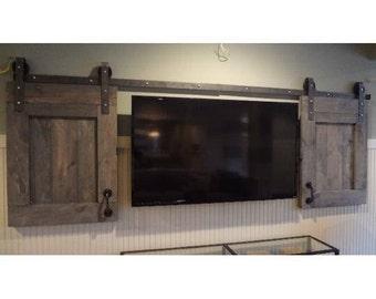 Custom barn door TV covers