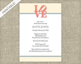 Items similar to LOVE Bridal Shower Registry Card Customizable