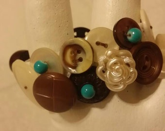 Brown and turquoise elastic cuff bracelet