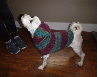 Hand knit Hoodie Dog Sweater