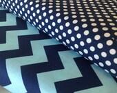 Navy Tone On Tone Medium Chevron - Small Navy Dot - 2 Yards Each - Riley Blake - Cotton Fabric