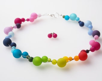 rainbow necklace jewellery set
