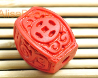 Vintage Carved Cinnabar ,red Spacer beads,Synthetic twist Beads ,13mm wide X 18mm length,10pcs