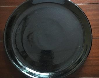 Ceramic plate // dinner plate// black glaze//gift