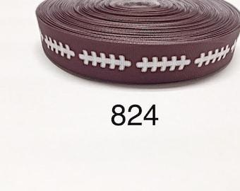 "3 or 5 yard - 7/8"" Sport Football on Brown Grosgrain Ribbon Hair bow"
