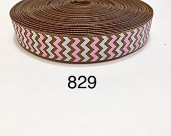 """3 or 5 yard - 7/8"""" Pink and White Chevron on Brown Grosgrain Ribbon Hair bow"""
