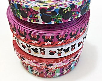 10 yard Minnie Mouse with Flower and Birthday Ribbon Lot Grosgrain Ribbon