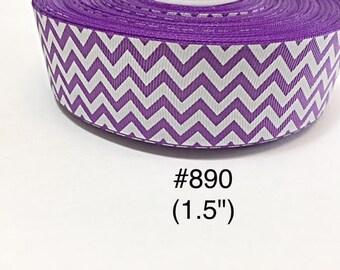 "2/3/5 yard - 1.5"" Purple and White Zig Zag Grosgrain Ribbon Hair bow"