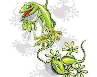 Green Gecko Lizard T SHIRT  Item no. 519a