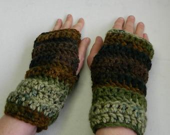 Green Fingerless Gloves Brown Fingerless Gloves Crocheted Fingerless Gloves Green Texting Gloves Brown Texting Gloves Hand Made