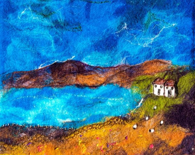 Giclee print of a wet felt original ' Lochside ' by Sue Howat (SALE)