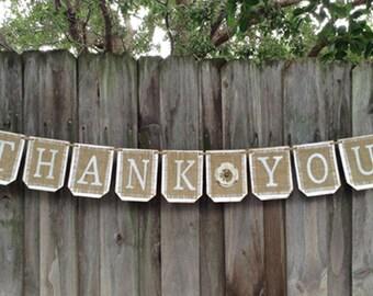 Burlap THANK You banner, Burlap wedding banner, Rustic wedding decor, wedding sign, burlap wedding decor, burlap wedding sign
