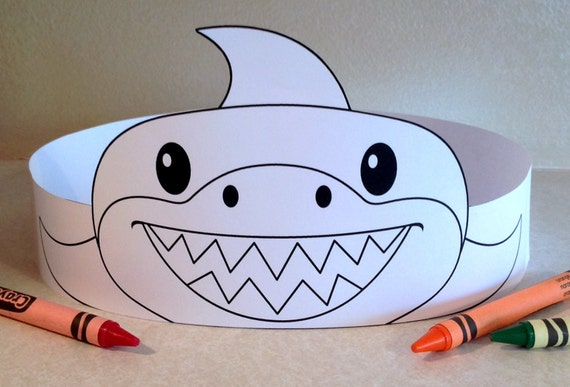 shark paper crown color your own printable