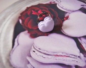 ring macaron heart purple