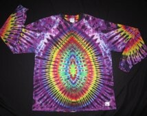 LSXL01 Psychedelic Turtle Egg w/Spine on Back, Long Sleeve Tie Dye T-shirt, Fits Unisex XL