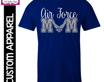 CUSTOM APPAREL: Custom Air Force MOM T-Shirt with Glitter