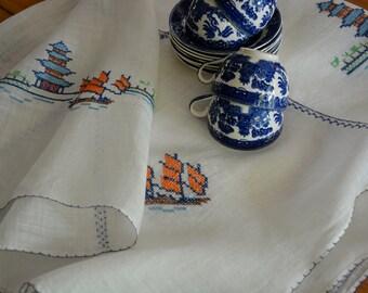 Rice Linen Tablecloth, Ship Tablecloth. Pagoda Tablecloth, Organza Tablecloth