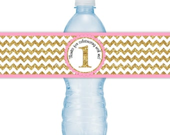 First Birthday Water Bottle Labels, INSTANT DOWNLOAD - Gold Chevron and Pink Water Bottle Labels, 1st Birthday, you print, you cut, DIY