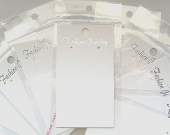 50 x White Earring Display Cards With Self Adhesive Bags ~ Fashion/Costume Jewellery