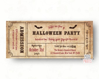 Halloween Party Invitations // Adult Halloween Invitation Printable // Ticket Halloween Invitation // Halloween Admit One Invitation