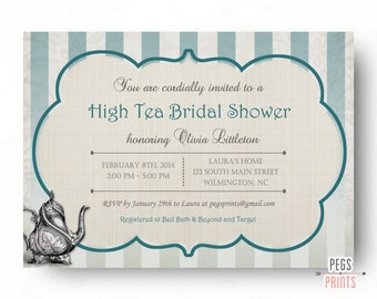 High Tea Bridal Shower Invitation - Printable Bridal Tea Party Invitation - Tea Party Bridal Shower Invitation - Bridal Shower Tea Party