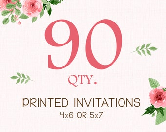 PRINTING SERVICE - 90 Color Printed Invitations on 100lb matte cardstock - Purchase with invitation of your choice - Free White Envelopes