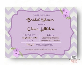 Lavender Bridal Shower Invitation Printable - Chevron Bridal Shower Invitation - Purple Bridal Shower Invitation - Floral Bridal Invites