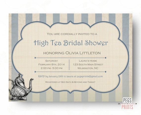 High Tea Invitation Bridal Shower Tea Party Invitations Printable