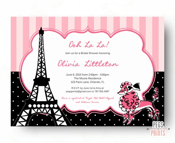 Pink paris bridal shower invitation printable french poodle bridal il570xn filmwisefo