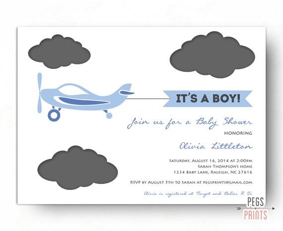 Airplane Baby Shower Invitation Plane Baby Shower Invitation