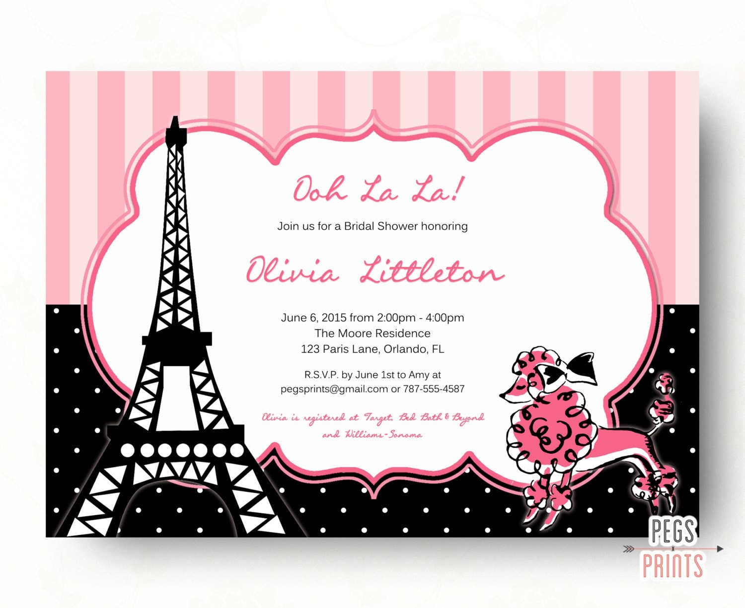 Pink paris bridal shower invitation printable french poodle for Paris themed invitations bridal shower