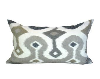 SECONDS- Darya Ikat lumbar pillow cover in Stone