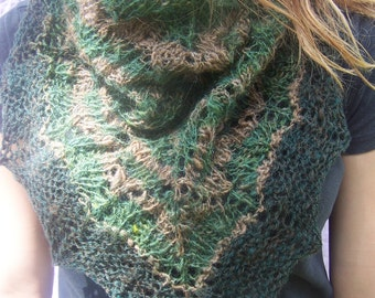 Green lace scarf, green shawlette, handknit scarf, handknit shawlette, triangular scarf, green and brown scarf, green and brown shawlette