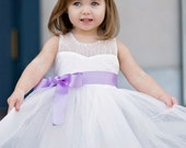 White Flower girl dress- flower girl dress-White Couture Flower Girl Dress-Ready to ship