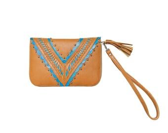 Kokomo Leather Wallet Tan and Turquoise