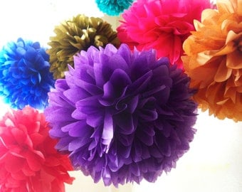Bollywood / 7 Tissue Paper Pom Poms / Bollywood Party / Arabian Nights / Bollywood Theme decoration / Moroccan party / Moroccan wedding