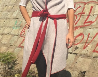 Maxi Reversible Vest/Plus Size Woolen Vest/Loose Vest/Extravagant Maxi Vest/High Collar Woolen Vest