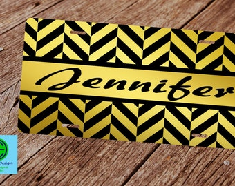 Gold and Black Herringbone License Plate. Custom Car Tag. Monogram License Plate.  Custom Gifts