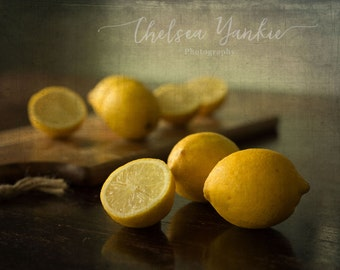 Yellow Lemons Farmhouse Fine Art Print, Kitchen Decor