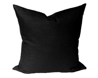 Robert Allen Linen Slub Nightsky -  solid black designer pillow cover - made to order - choose your size